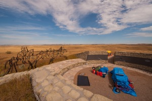 The Little Bighorn Battlefield National Monument sports a new memorial to the Plains Indians. Its still under construction and when complete the walls inside the circle will showcase various native symbols and carvings.