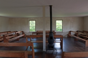Visitors to the Antietam National Battlefield can go inside the Dunker Church. There is parking across the street, or accessible parking to the side of the building.