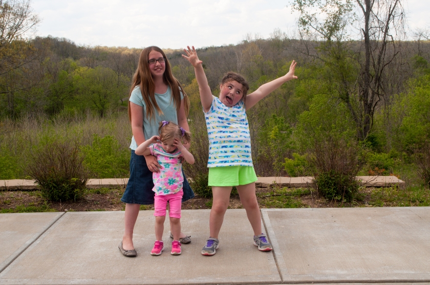 I just love these kids - but the younger two weren't as impressed with hiking as I wanted them to be. From left: Mandy, Ella and little Olivia.